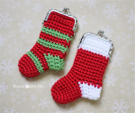 pattern for little christmas stocking crochet christmas stocking coin purse pattern repeat