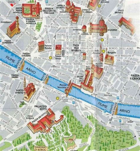 places of interest in map places of interest map of florence firenze italy