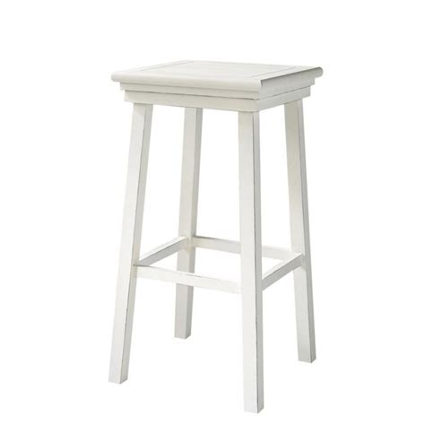 White Wood Bar Stool Wooden Bar Stool In White Newport Maisons Du Monde