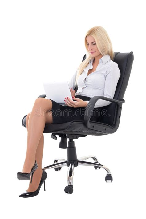 White Sitting Chair by Business Sitting On Office Chair And Working With