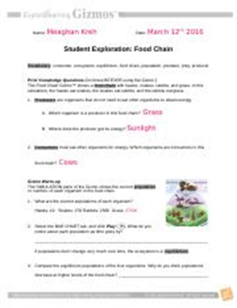 From Pond To Forest Worksheet Answers by Student Exploration Food Chain Worksheet Answer Key