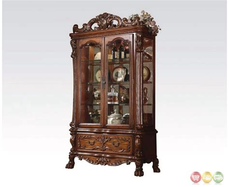 cherry curio cabinets cheap dresden traditional ornate curio in antique cherry oak