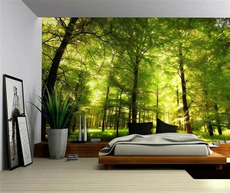 home decor sticker green forest trees nature large wall mural removable