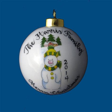personalized hand painted christmas ornament with whimsical