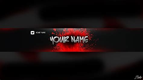 Photoshop Red Banner Template Youtube Banner Template Photoshop
