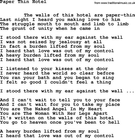 Paper Song - leonard cohen song paper thin hotel lyrics