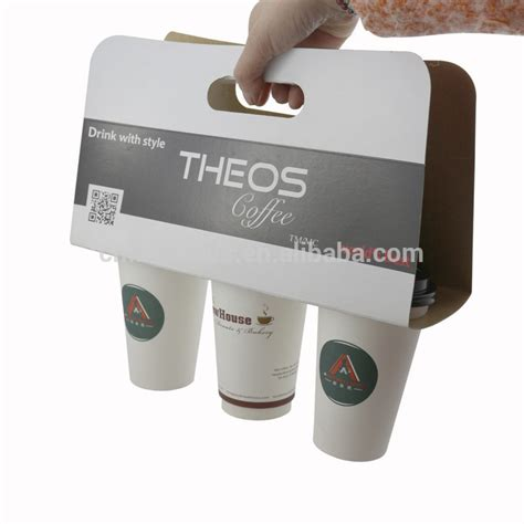 350g Grey Paper Coffee Cup Holder With Handle   Buy 350g
