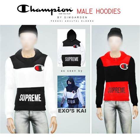 Supreme Hoodie Hoody Jacket Sweater Black Exo Got7 Gd Kpop supreme hoodies at simgarden via sims 4 updates sims 4