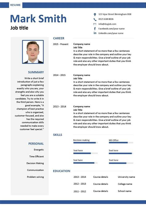 curriculum vitae template word education resume template word