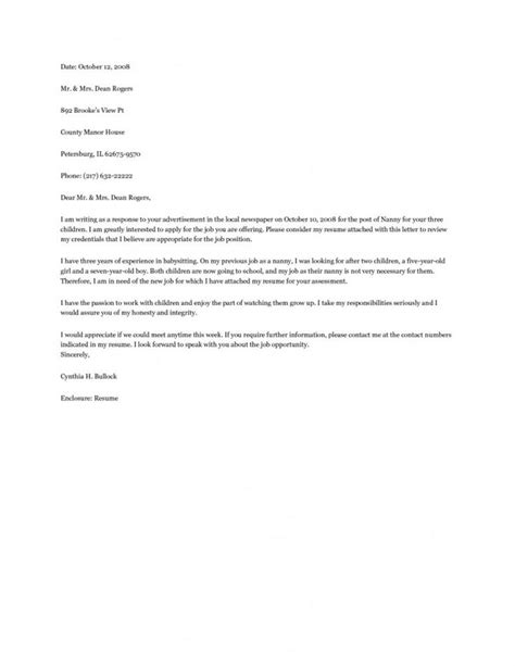 Cover Letter For Nanny by Nanny Cover Letter Exle Resume Exles Cover Letter Exle Letter Exle