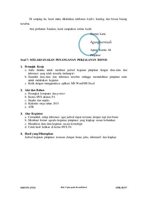 6045 p1 spk administrasi perkantoran soal ukk