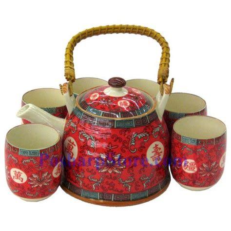 Rumauma Ceramic Tea Pot Set Wave Pattern ceramic vermilion longlive teapot set