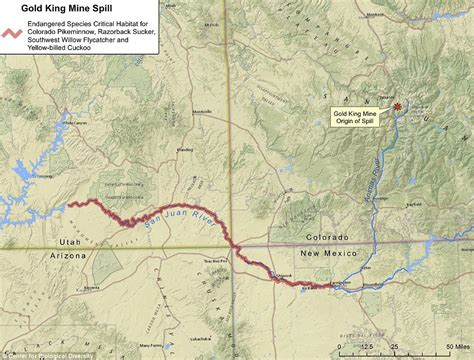 animas river map colorado s river animas turns yellow from one million gallons of waste daily mail