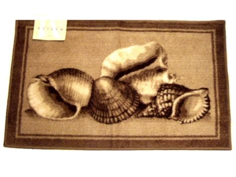 seashell bathroom rugs beige brown seashells bath rug