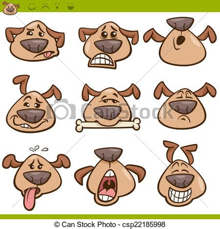 clipart cani vettori eps di emoticons set illustrazione