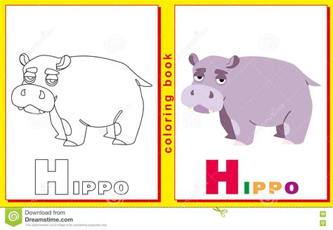 4 Letter Words Hippo coloring book for with letters and words hippo