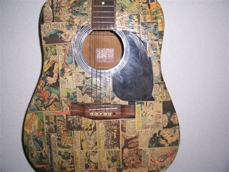 How To Decoupage A Guitar - decoupaged comic guitar 183 a guitar 183 decoupage on