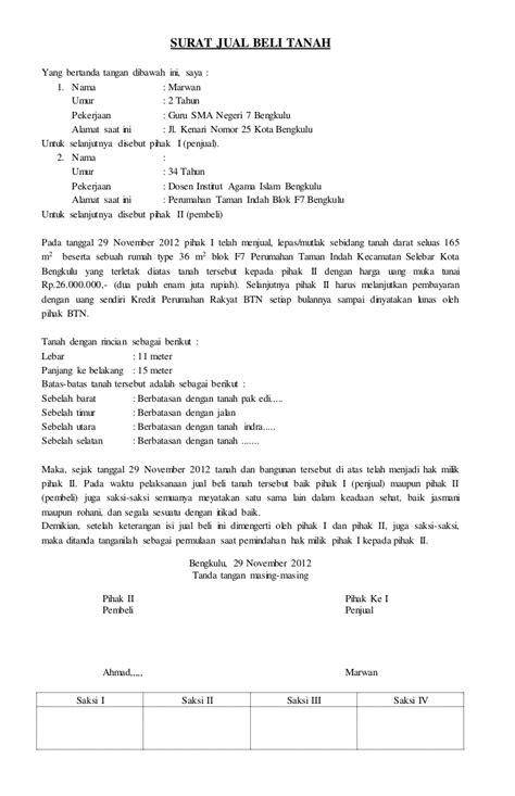 contoh surat perjanjian jual beli tanah dan