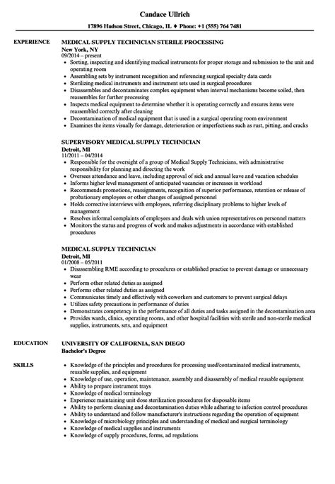 Supply Technician Sle Resume by Supply Technician Resume Sles Velvet