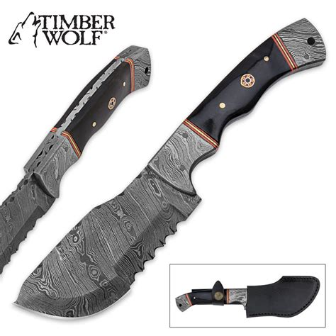 damascus fixed blade knife timber wolf fixed blade cleaver knife micarta