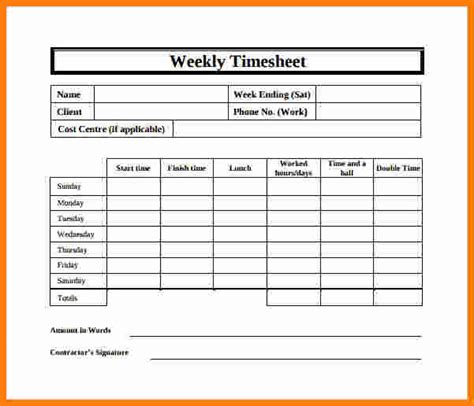 12 free printable weekly timesheet template ledger paper