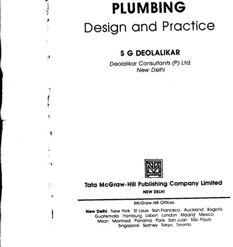 Plumbing Practice by Plumbing Design Practice Deolalikar