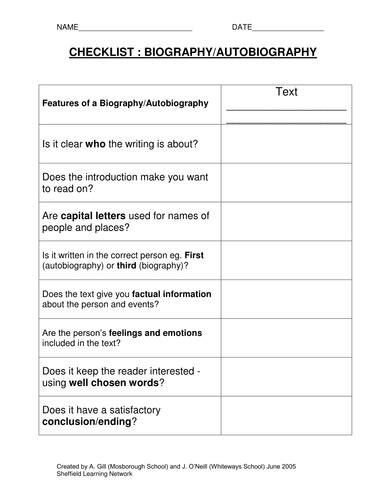 biography text worksheet biography checklist doc literacy pinterest teacher