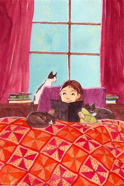 libro three in a bed between books and cats entre libros y gatos ilustraci 243 n de erin mcguire el arte de la