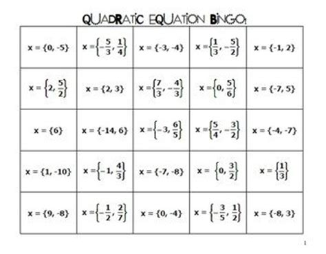 printable games for solving equations equation bingo and game on pinterest