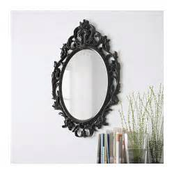 ung drill mirror oval black 59x85 cm ikea