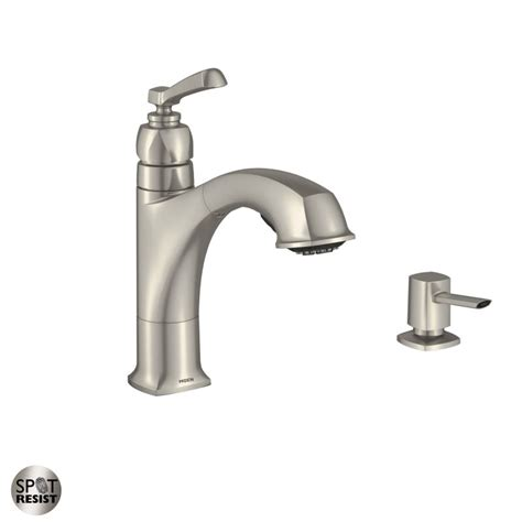 moen kitchen faucet with soap dispenser moen 87659srs spot resist stainless pullout spray kitchen