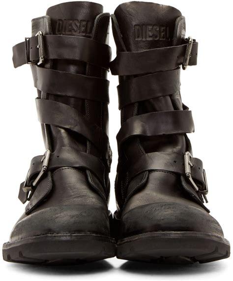 mens diesel boots diesel black leather d tankker boots in black for lyst