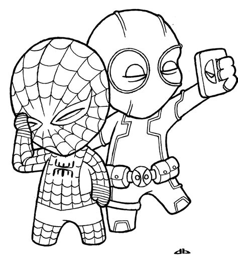 little deadpool and little spiderman by josh308 on deviantart