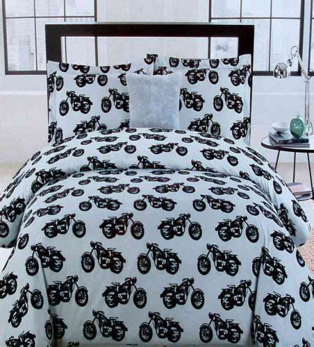 motorcycle bedding motorcycles black gray twin comforter shams throwpillow