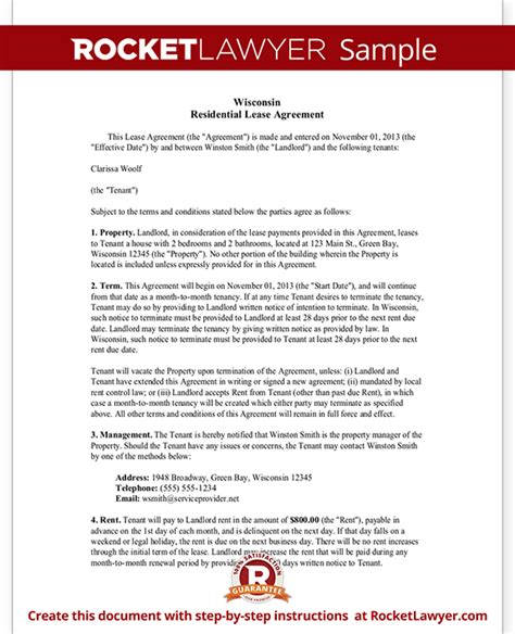 Wisconsin Lease Agreement Wi Rental Contract Form With Sle Wisconsin Rental Lease Agreement Template