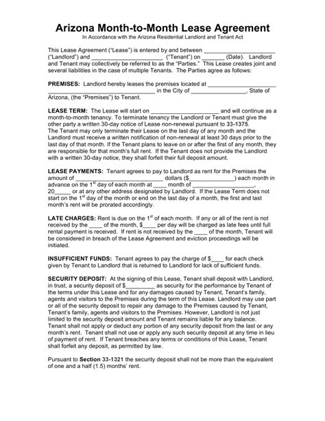 printable lease agreement arizona free arizona month to month rental agreement template