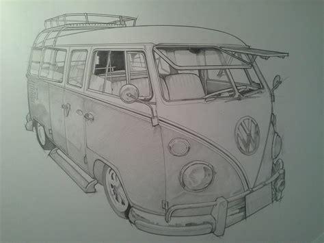 volkswagen bus drawing timelapse pencil sketch vw cer van youtube