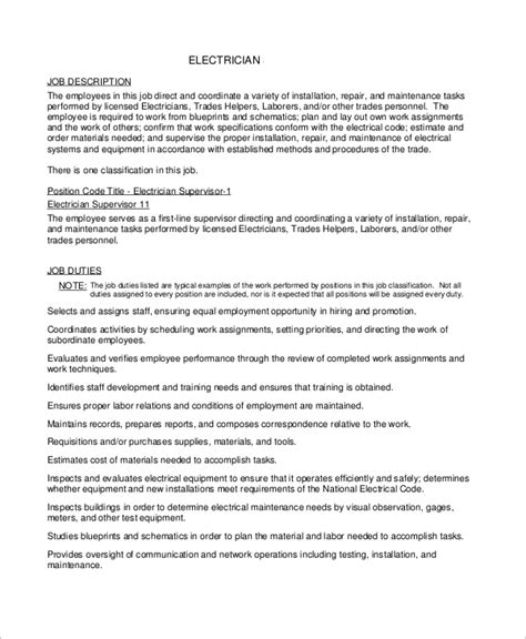 Electrician Duties by Sle Electrician Resume 9 Exles In Word Pdf