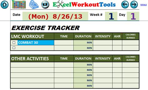 Fitness Tracking Spreadsheet by Excel Spreadsheet Workout Calendar Exercise Tracker Tool