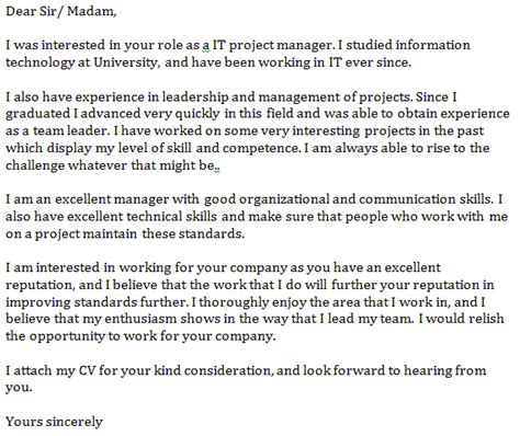 cover letter it project manager it project manager cover letter exle learnist org
