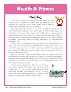 reading comprehension worksheet sleeping