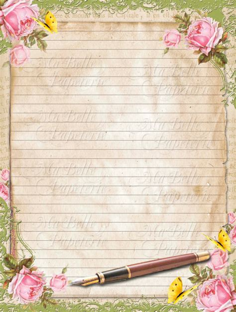 vintage writing paper vintage style shabbby chic lined letter writing paper with