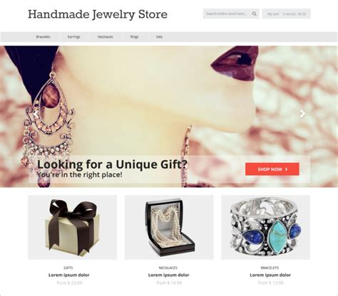Handmade Jewelry Magento Theme Handcrafted Jewelry Website Templates
