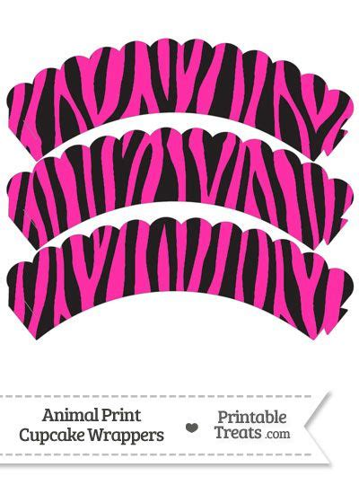 printable zebra cupcake wrappers hot pink zebra print scalloped cupcake wrappers from