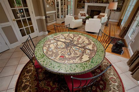 custom tile breakfast table eclectic dining room