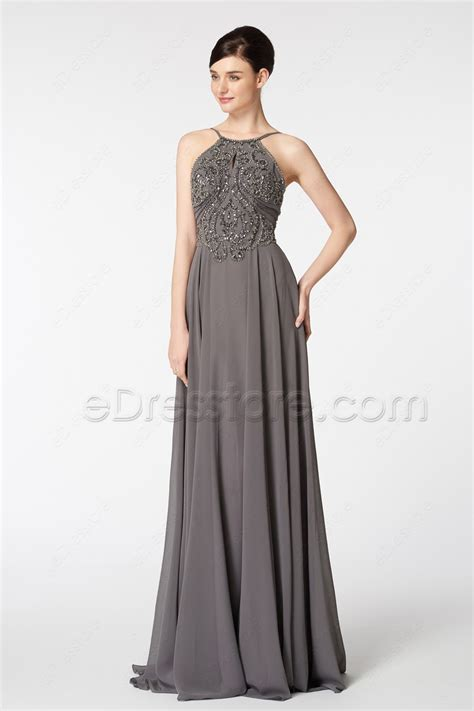 Who Wore It Better Karta Jeweled Waist Dress by Halter Beaded Sparkle Backless Charcoal Grey Prom Dresses