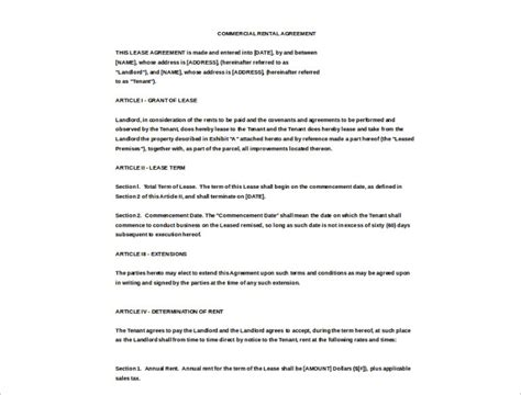 Agreement Letter Exle Rental Agreement Template Free Pdf Word Documents Creative Template