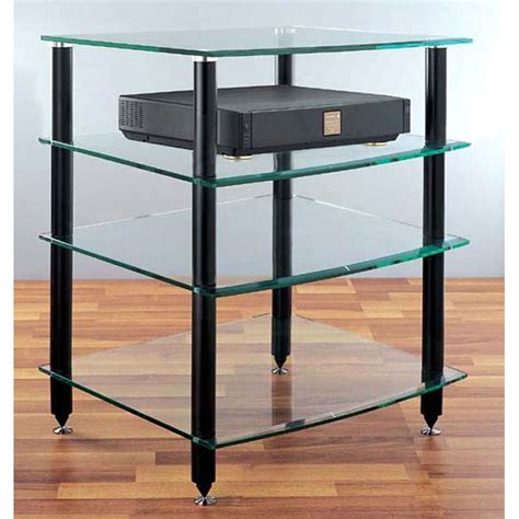 Vti Audio Rack by Vti 4 Shelf Audio Rack With Glass Shelves Black Agr404b