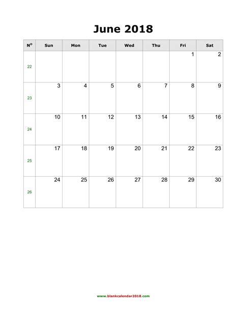 blank calendar june  portrait