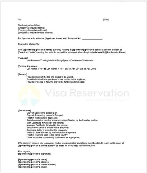 sponsorship letter  schengen visa sample letter